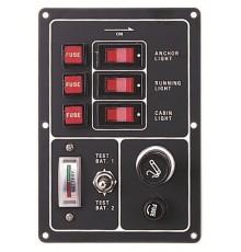 Tableau électrique avec testeur de batterie et allume cigare