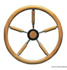 Barres à roue avec cercle en teck, branches recouvertes en teck