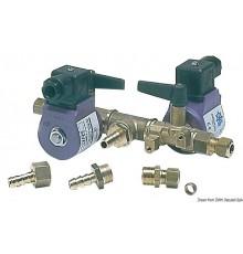 Electrovanne double avec commande à distance ou manuelle sur les robinets pour raccorder deux réservoirs à un moteur