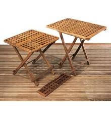 Table pliante en teck et rallonges